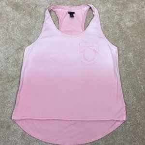 TRUE RELIGION Hombre Dyed PINK Racer Tank TOP Tee